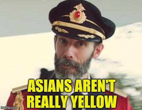 Captain Obvious | ASIANS AREN'T REALLY YELLOW | image tagged in captain obvious | made w/ Imgflip meme maker