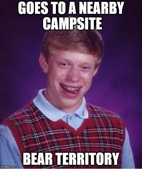 Bad Luck Brian Meme | GOES TO A NEARBY CAMPSITE BEAR TERRITORY | image tagged in memes,bad luck brian | made w/ Imgflip meme maker
