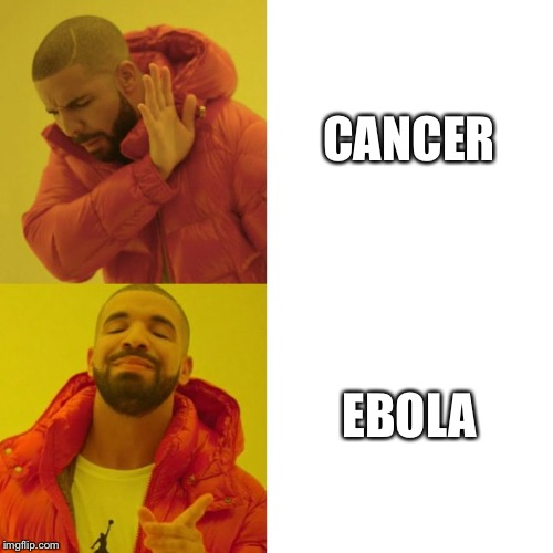 When I hear someone is sick | CANCER EBOLA | image tagged in drake blank | made w/ Imgflip meme maker