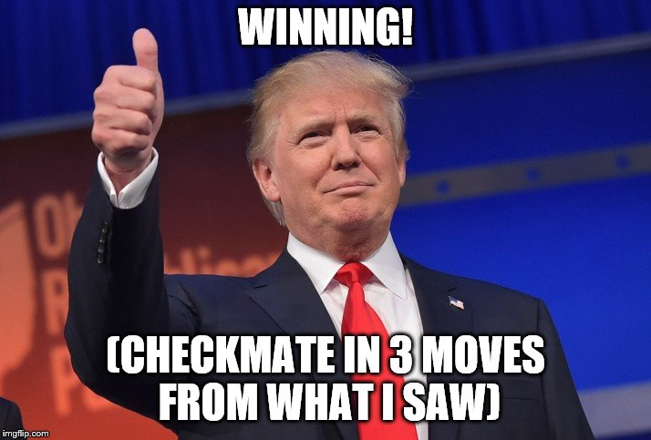 Donald Trump Approves | WINNING! (CHECKMATE IN 3 MOVES FROM WHAT I SAW) | image tagged in donald trump approves | made w/ Imgflip meme maker