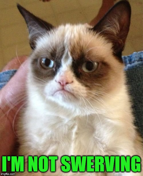 Grumpy Cat Meme | I'M NOT SWERVING | image tagged in memes,grumpy cat | made w/ Imgflip meme maker