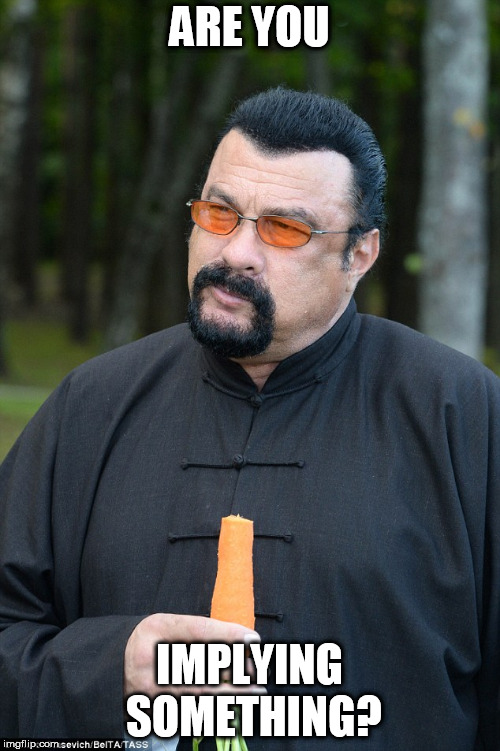 Steven Segal | ARE YOU IMPLYING SOMETHING? | image tagged in steven segal | made w/ Imgflip meme maker