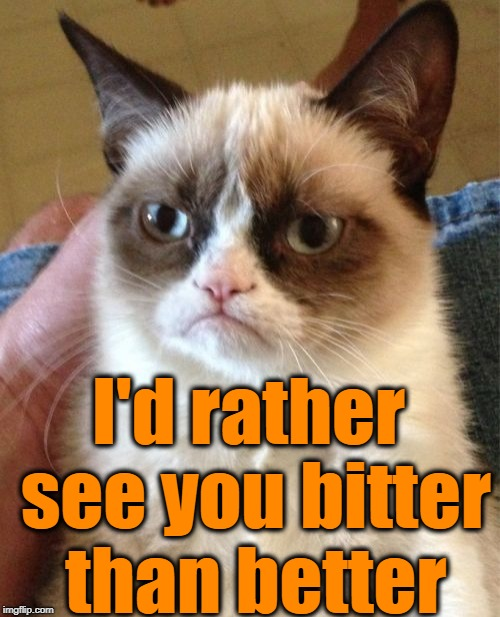 Grumpy Cat Meme | I'd rather see you bitter than better | image tagged in memes,grumpy cat | made w/ Imgflip meme maker