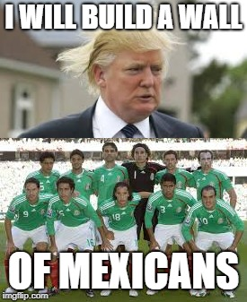 World Cup Donald | I WILL BUILD A WALL OF MEXICANS | image tagged in world cup,trump wall,mexico | made w/ Imgflip meme maker