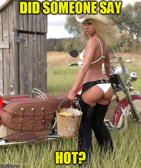 Bike hottie cowgirl | DID SOMEONE SAY HOT? | image tagged in bike hottie cowgirl | made w/ Imgflip meme maker