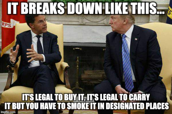 Rutte Lays Down The Law | IT BREAKS DOWN LIKE THIS... IT'S LEGAL TO BUY IT, IT'S LEGAL TO CARRY IT BUT YOU HAVE TO SMOKE IT IN DESIGNATED PLACES | image tagged in funny memes,politicians,economics,drugs | made w/ Imgflip meme maker