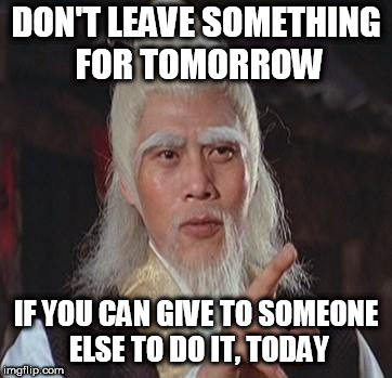 Wise Kung Fu Master | DON'T LEAVE SOMETHING FOR TOMORROW IF YOU CAN GIVE TO SOMEONE ELSE TO DO IT, TODAY | image tagged in wise kung fu master | made w/ Imgflip meme maker