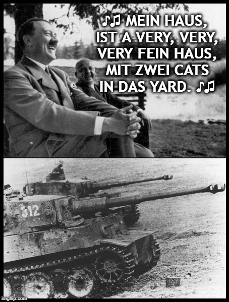 Hitler Nash & Young | ♪♫ MEIN HAUS, IST A VERY, VERY, VERY FEIN HAUS, MIT ZWEI CATS IN DAS YARD. ♪♫ | image tagged in our house ist fine  hitler tiger tank | made w/ Imgflip meme maker