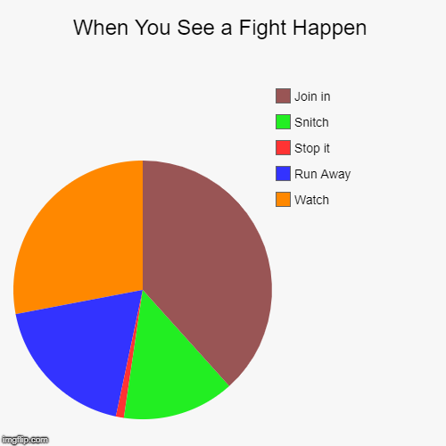 When You See a Fight Happen | Watch, Run Away, Stop it, Snitch, Join in | image tagged in funny,pie charts | made w/ Imgflip pie chart maker