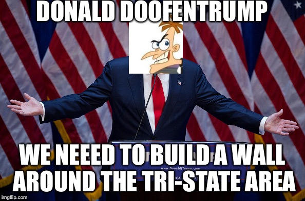 Donald Trump | DONALD DOOFENTRUMP WE NEEED TO BUILD A WALL AROUND THE TRI-STATE AREA | image tagged in donald trump | made w/ Imgflip meme maker