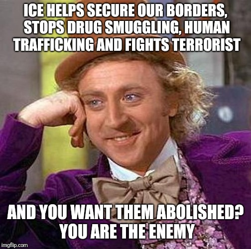 Creepy Condescending Wonka Meme | ICE HELPS SECURE OUR BORDERS, STOPS DRUG SMUGGLING, HUMAN TRAFFICKING AND FIGHTS TERRORIST AND YOU WANT THEM ABOLISHED? YOU ARE THE ENEMY | image tagged in memes,creepy condescending wonka | made w/ Imgflip meme maker