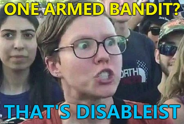 Not the best - but I thought it was worth the gamble... :) | ONE ARMED BANDIT? THAT'S DISABLEIST | image tagged in triggered liberal,memes,one armed bandit | made w/ Imgflip meme maker