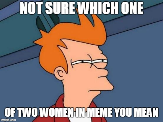 NOT SURE WHICH ONE OF TWO WOMEN IN MEME YOU MEAN | image tagged in memes,futurama fry | made w/ Imgflip meme maker