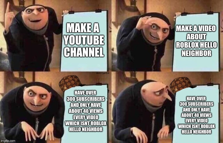 Gru's Plan | MAKE A YOUTUBE CHANNEL HAVE OVER 300 SUBSCRIBERS AND ONLY HAVE ABOUT 40 VIEWS EVERY VIDEO WHICH ISNT ROBLOX HELLO NEIGHBOR MAKE A VIDEO ABOU | image tagged in gru's plan,scumbag | made w/ Imgflip meme maker