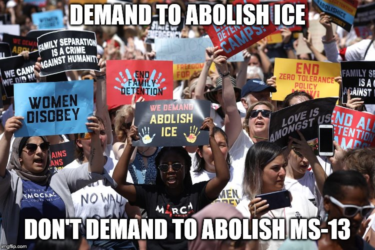abolish MS-13 | DEMAND TO ABOLISH ICE DON'T DEMAND TO ABOLISH MS-13 | image tagged in abolish,ice,ms-13,leftist nuts | made w/ Imgflip meme maker