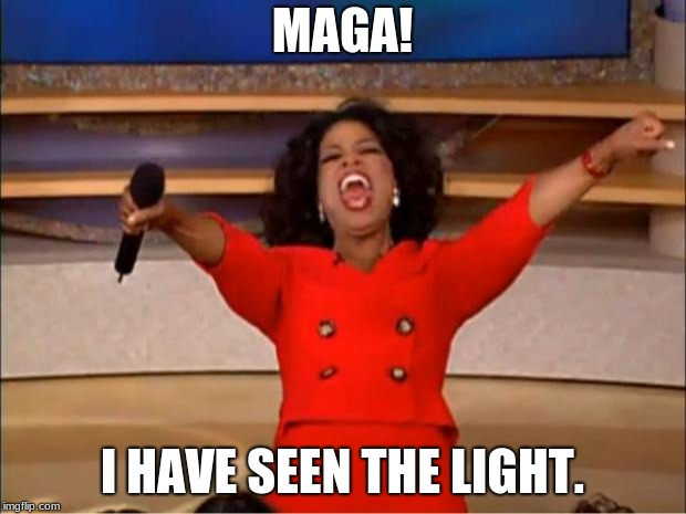 Oprah You Get A Meme | MAGA! I HAVE SEEN THE LIGHT. | image tagged in memes,oprah you get a | made w/ Imgflip meme maker