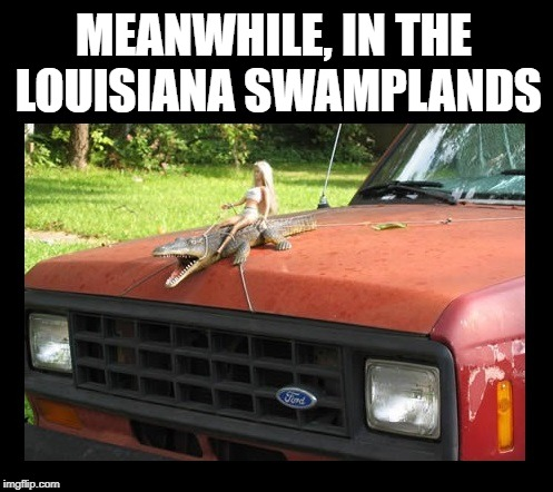 Would love to meet the guy that put this together!  LOL | MEANWHILE, IN THE LOUISIANA SWAMPLANDS | image tagged in funny memes,barbie,alligator,swamp,rednecks | made w/ Imgflip meme maker