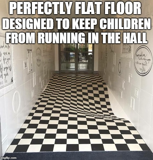 No running in the hall!  | PERFECTLY FLAT FLOOR DESIGNED TO KEEP CHILDREN FROM RUNNING IN THE HALL | image tagged in optical illusion,running students,floor,running,memes | made w/ Imgflip meme maker