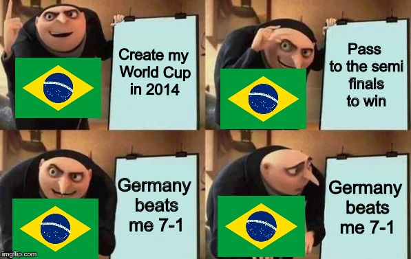 Gru's Plan | Create my World Cup in 2014 Pass to the semi finals to win Germany beats me 7-1 Germany beats me 7-1 | image tagged in gru's plan | made w/ Imgflip meme maker