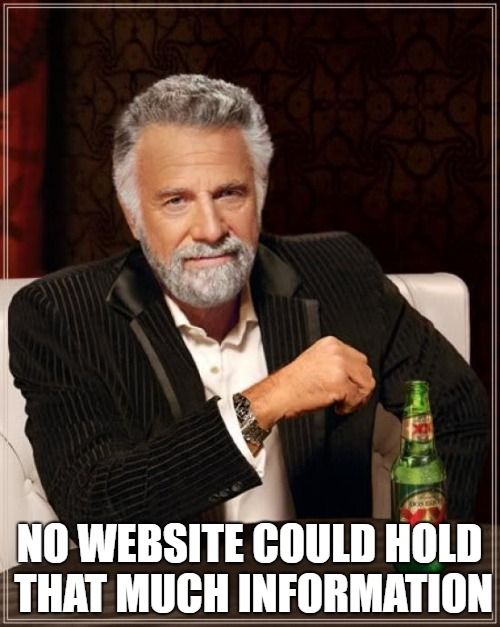 The Most Interesting Man In The World Meme | NO WEBSITE COULD HOLD THAT MUCH INFORMATION | image tagged in memes,the most interesting man in the world | made w/ Imgflip meme maker