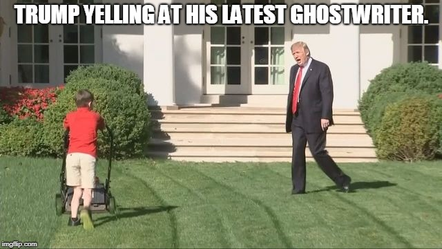 TRUMP YELLING AT HIS LATEST GHOSTWRITER. | image tagged in trump lawnmower kid | made w/ Imgflip meme maker