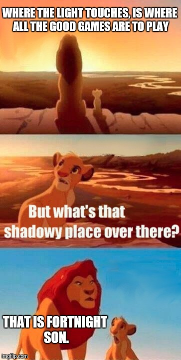 Simba Shadowy Place Meme | WHERE THE LIGHT TOUCHES, IS WHERE ALL THE GOOD GAMES ARE TO PLAY THAT IS FORTNIGHT SON. | image tagged in memes,simba shadowy place | made w/ Imgflip meme maker