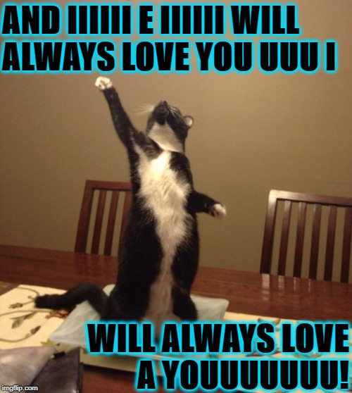 AND IIIIII E IIIIII WILL ALWAYS LOVE YOU UUU I WILL ALWAYS LOVE A YOUUUUUUU! | image tagged in whitney catson | made w/ Imgflip meme maker