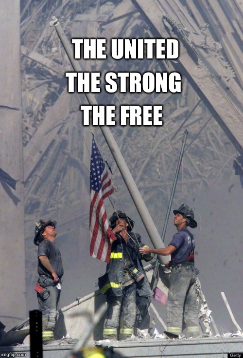 THE UNITED THE FREE THE STRONG | image tagged in world trade center flag | made w/ Imgflip meme maker