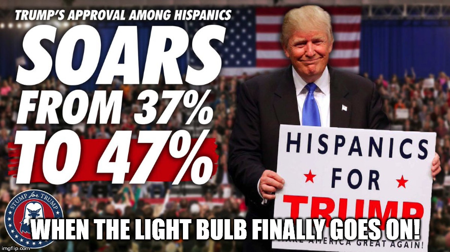 WHEN THE LIGHT BULB FINALLY GOES ON! | image tagged in trumps rating soars | made w/ Imgflip meme maker