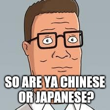 Hank Hill | SO ARE YA CHINESE OR JAPANESE? | image tagged in hank hill | made w/ Imgflip meme maker