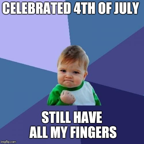 Success Kid Meme | CELEBRATED 4TH OF JULY STILL HAVE ALL MY FINGERS | image tagged in memes,success kid,4th of july | made w/ Imgflip meme maker