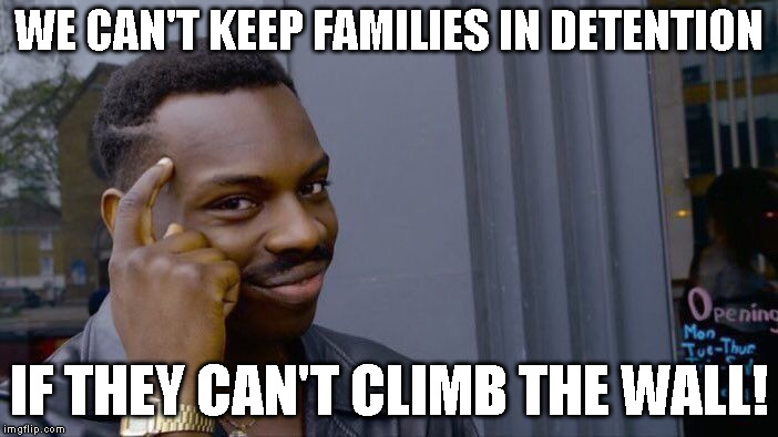 Roll Safe Think About It Meme | WE CAN'T KEEP FAMILIES IN DETENTION IF THEY CAN'T CLIMB THE WALL! | image tagged in memes,roll safe think about it | made w/ Imgflip meme maker