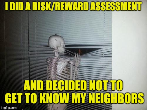 Social anxiety skeleton | I DID A RISK/REWARD ASSESSMENT AND DECIDED NOT TO GET TO KNOW MY NEIGHBORS | image tagged in skeleton looking out window | made w/ Imgflip meme maker