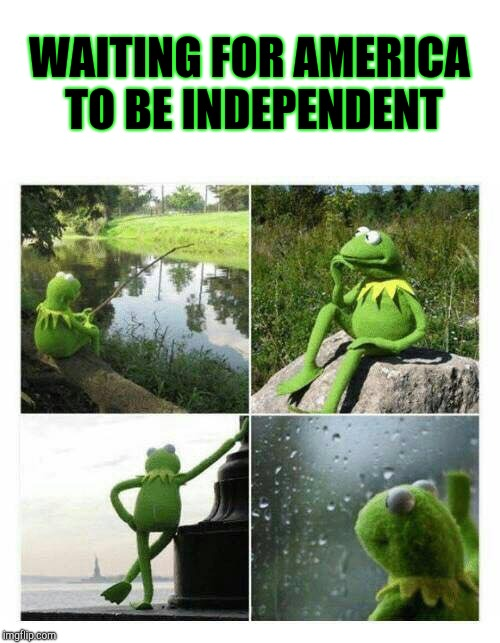 WAITING FOR AMERICA TO BE INDEPENDENT | image tagged in kermit sad montage compilation | made w/ Imgflip meme maker