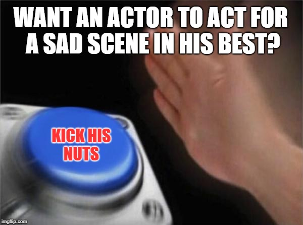 Blank Nut Button Meme | WANT AN ACTOR TO ACT FOR A SAD SCENE IN HIS BEST? KICK HIS NUTS | image tagged in memes,blank nut button | made w/ Imgflip meme maker