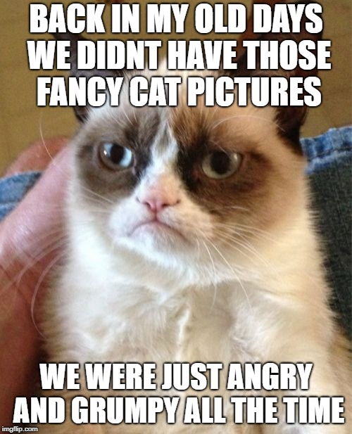 Grumpy Cat Meme | BACK IN MY OLD DAYS WE DIDNT HAVE THOSE FANCY CAT PICTURES WE WERE JUST ANGRY AND GRUMPY ALL THE TIME | image tagged in memes,grumpy cat | made w/ Imgflip meme maker