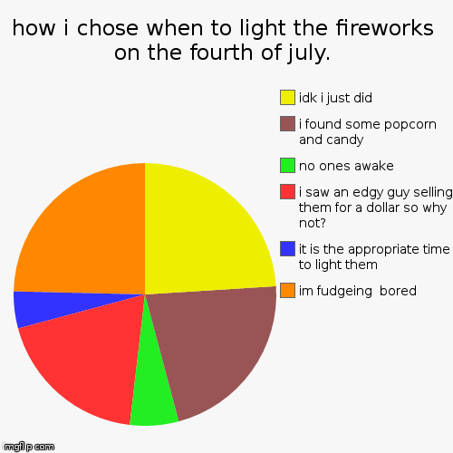 how i chose when to light the fireworks on the fourth of july. | im fudgeing  bored, it is the appropriate time to light them, i saw an edgy | image tagged in funny,pie charts | made w/ Imgflip pie chart maker