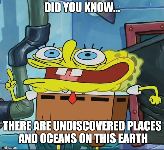 DID YOU KNOW... THERE ARE UNDISCOVERED PLACES AND OCEANS ON THIS EARTH | image tagged in did you know | made w/ Imgflip meme maker