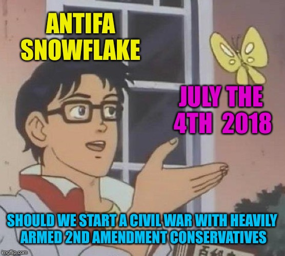Is This A Pigeon Meme | ANTIFA SNOWFLAKE JULY THE 4TH  2018 SHOULD WE START A CIVIL WAR WITH HEAVILY ARMED 2ND AMENDMENT CONSERVATIVES | image tagged in memes,is this a pigeon | made w/ Imgflip meme maker