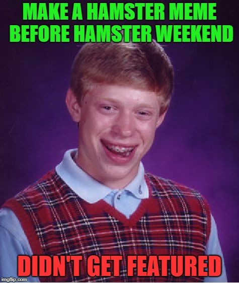Bad Luck Brian Meme | MAKE A HAMSTER MEME BEFORE HAMSTER WEEKEND DIDN'T GET FEATURED | image tagged in memes,bad luck brian,hamster weekend | made w/ Imgflip meme maker