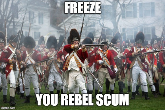 FREEZE YOU REBEL SCUM | image tagged in british,american revolution | made w/ Imgflip meme maker
