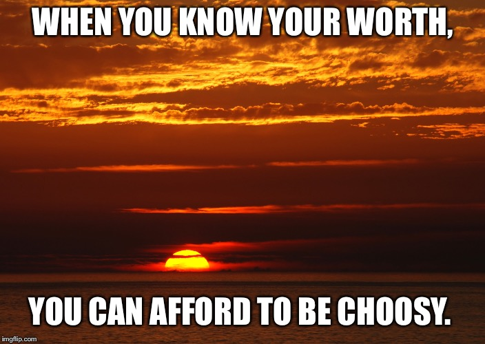 WHEN YOU KNOW YOUR WORTH, YOU CAN AFFORD TO BE CHOOSY. | image tagged in self-worth,worthy | made w/ Imgflip meme maker