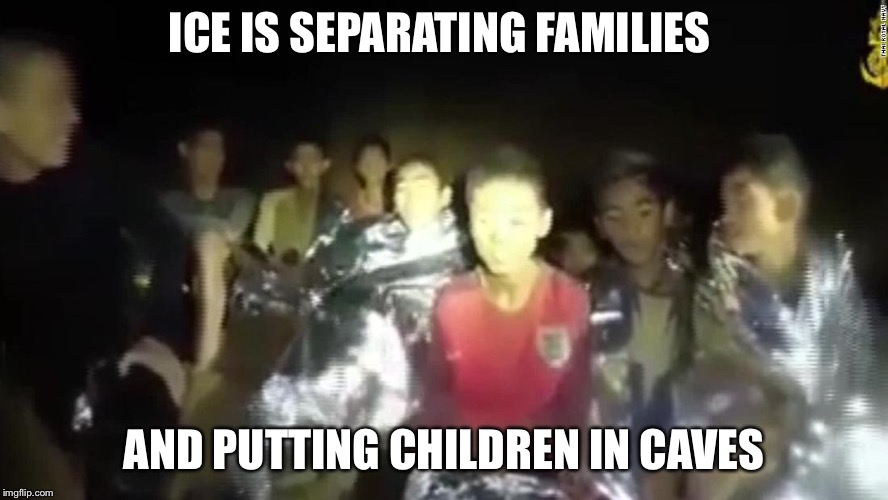 Abolish ICE | ICE IS SEPARATING FAMILIES AND PUTTING CHILDREN IN CAVES | image tagged in illegal immigration | made w/ Imgflip meme maker
