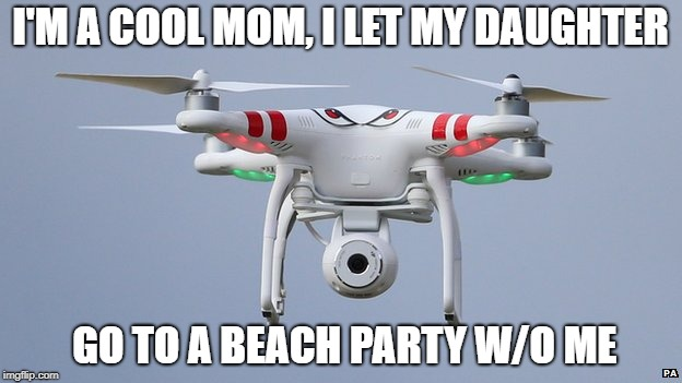 Drones | I'M A COOL MOM, I LET MY DAUGHTER GO TO A BEACH PARTY W/O ME | image tagged in drones | made w/ Imgflip meme maker