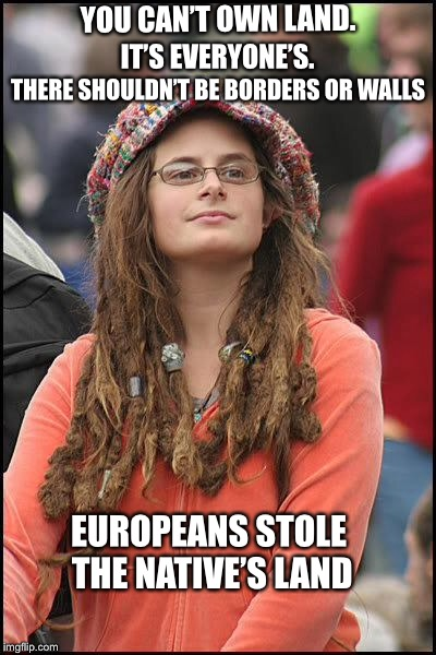 Liberals... | YOU CAN'T OWN LAND. EUROPEANS STOLE THE NATIVE'S LAND IT'S EVERYONE'S. THERE SHOULDN'T BE BORDERS OR WALLS | image tagged in hippie,liberal logic,politics | made w/ Imgflip meme maker