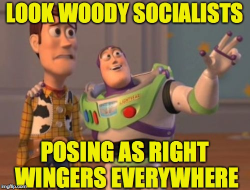 X, X Everywhere Meme | LOOK WOODY SOCIALISTS POSING AS RIGHT WINGERS EVERYWHERE | image tagged in memes,x,x everywhere,x x everywhere | made w/ Imgflip meme maker