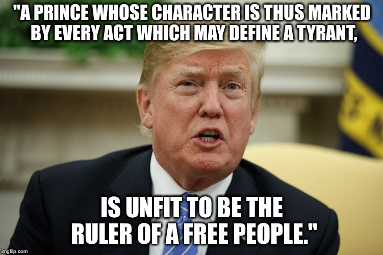 "Quotes from the Declaration of Independence |  ""A PRINCE WHOSE CHARACTER IS THUS MARKED BY EVERY ACT WHICH MAY DEFINE A TYRANT, IS UNFIT TO BE THE RULER OF A FREE PEOPLE."" 