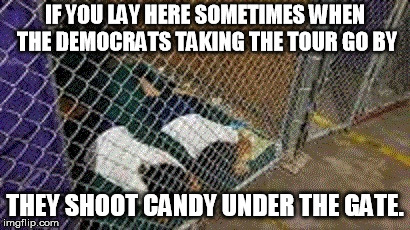 IF YOU LAY HERE SOMETIMES WHEN THE DEMOCRATS TAKING THE TOUR GO BY THEY SHOOT CANDY UNDER THE GATE. | image tagged in obama | made w/ Imgflip meme maker