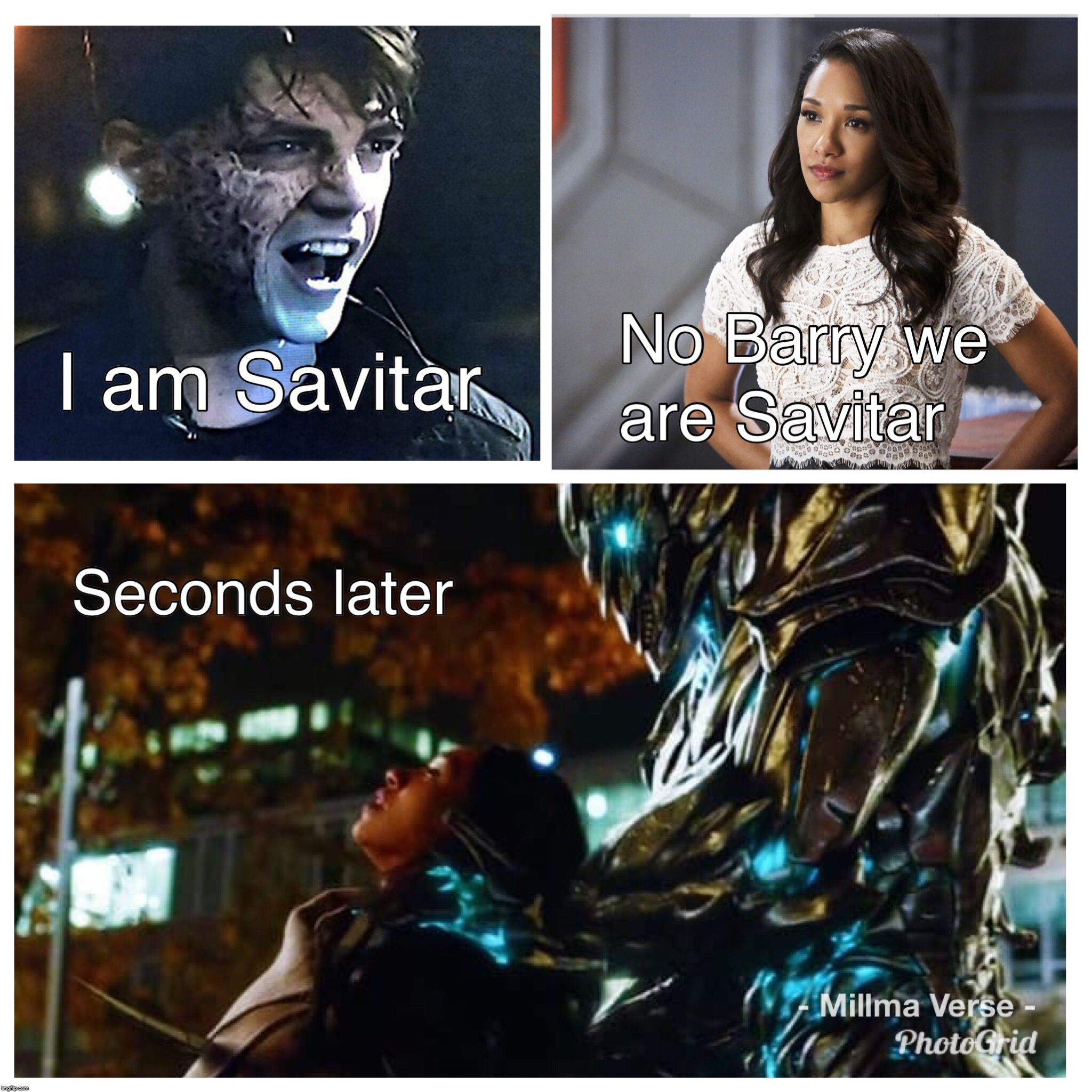 We Are Savitar  | image tagged in the flash,iris west,we are the flash,barry allen,savitar | made w/ Imgflip meme maker