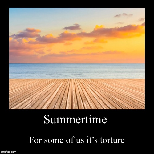Summertime | For some of us it's torture | image tagged in funny,demotivationals | made w/ Imgflip demotivational maker